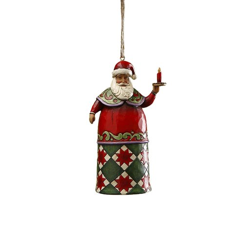 Jim Shore Heartwood Creek Santa with Candle Hanging Ornament, 4-3/4 Inches