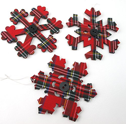 Set of 3 Plaid Snowflake Ornaments Sage & Co.