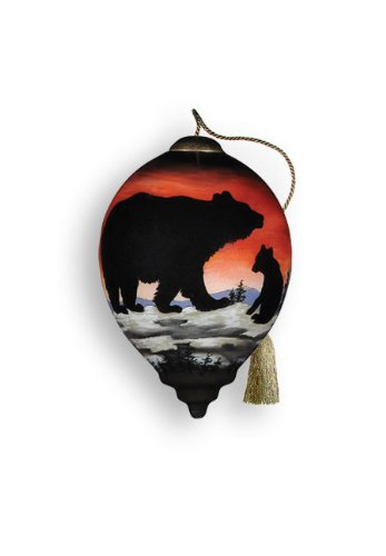 Ne'Qwa Art Bear Cub Silhouette – Glass Ornament Hand-Painted Reverse Painting Distinctive 507-NEQ