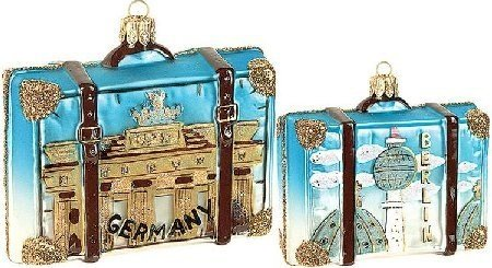Germany Travel Suitcase Polish Glass Christmas Ornament