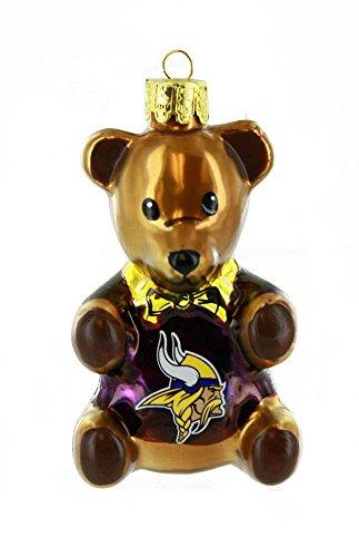 Minnesota Vikings 3.5″ Blown Glass Teddy Bear Ornament