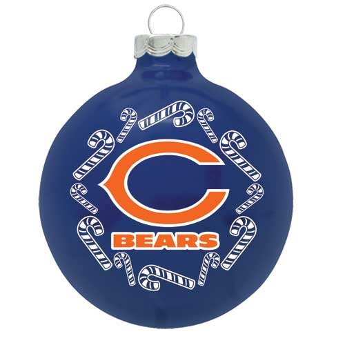 """Chicago Bears 2 5/8"""" Painted Round Candy Cane Christmas Tree Ornament"""