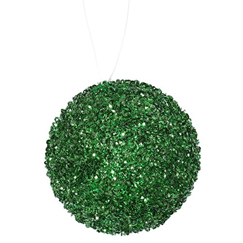 6ct Emerald Green Sequin and Glitter Drenched Christmas Ball Ornaments 3″ (80mm)