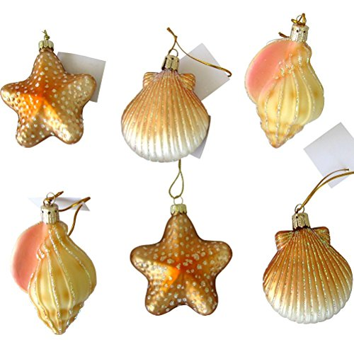 Blown Glass Seashell Christmas Ornaments, Set of 6