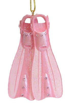 December Diamonds Pink Scuba Fins Ornament – Embellished with Rhinestones!!!
