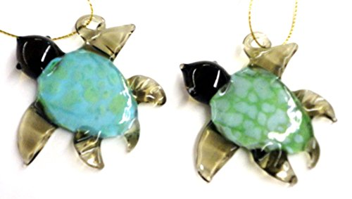 2 Glass Sea Turtle Christmas Ornaments