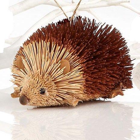 Martha Stewart Buri Bristle Brush 5 in. Hedgehog Christmas Ornament