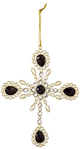 Sage & Co. XAO17052 7.5″ Gem and Pearl Ornate Cross Ornament