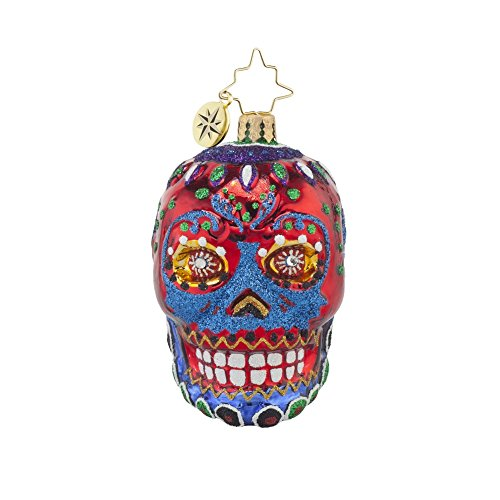 Christopher Radko La Calavera Gem Day of the Dead Skull Glass Christmas Ornament – 3.5″H.