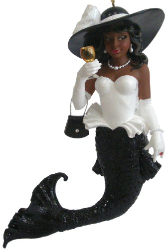 December Diamonds Lady Ebony African American Beauty Mermaid Ornament Drinking Red Wine Ornament.Amazing Detail, approximately 7 inches tall, Handpainted, Sold Out & Discontinued Limited Edition which arrives in a December Diamonds Gift Box. Wearing Sparkling Large Red Rhinestone Ring on her White Gloved Hand.Jewelry & Dressed for a Special Occasion. The Absolute Perfect Gift for the Woman who has Everything!!!Limited Edition is Sold Out & Discontinued!!!
