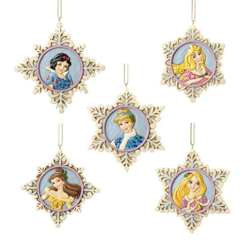 Jim Shore Disney Traditions Snow Flake Princess Ornament — Set of 5 Pendent Ornaments