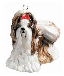 Joy To The World Brown and White Shih Tzu Ornament – Dog Christmas ZKP1985BR