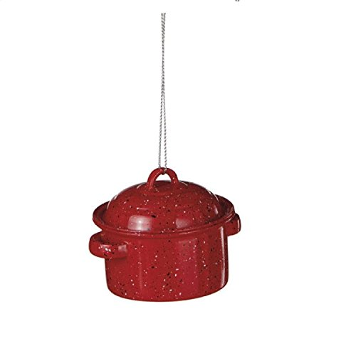 3.25″ Black and White Speckled Red Enamel Stock Pot Kitchen Cookware Christmas Ornaments
