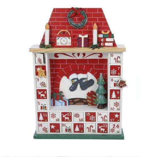 Kurt Adler Wooden Chimney Christmas Advent Calendar with Ornaments, 15-Inch