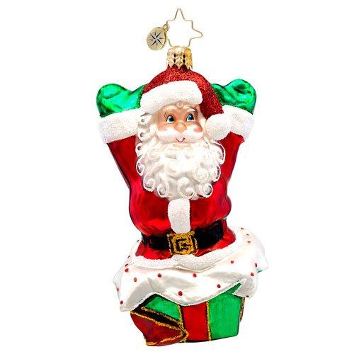 Christopher Radko Pop Up Noel Santa Glass Christmas Ornament 2014