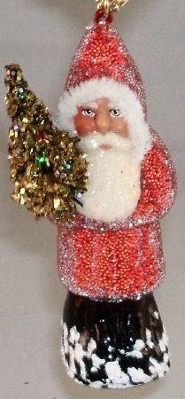 Red Beaded Ino Schaller Paper Mache Santa Ornament