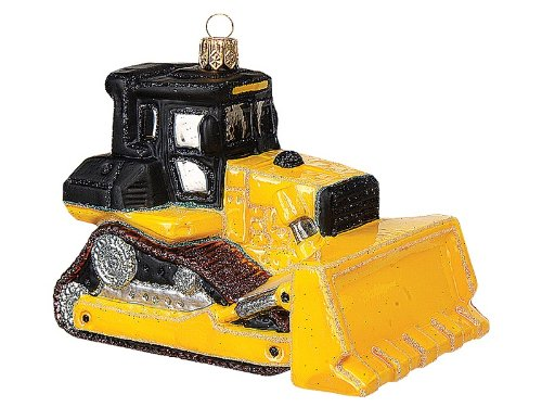 Bulldozer Construction Vehicle Polish Mouth Blown Glass Christmas Ornament