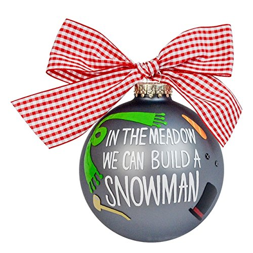 Build a Snowman Glass Ornament