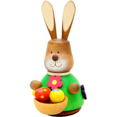 "15-0317 – Christian Ulbricht Ornament – Bunny with Basket (No String) – 3″""H x 2″""W x 2″"""