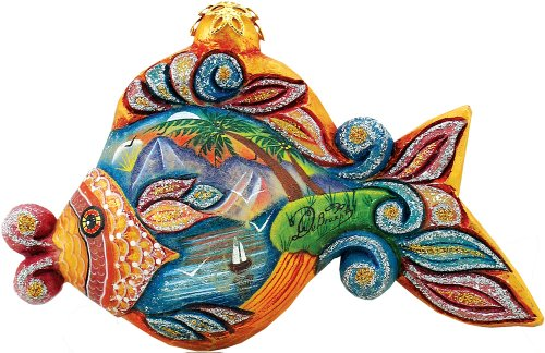 G. Debrekht Paradise Fish Charmer, 2-1/2-Inch Tall, Hand-Painted, Includes Hanger That Fits in Hole on Top
