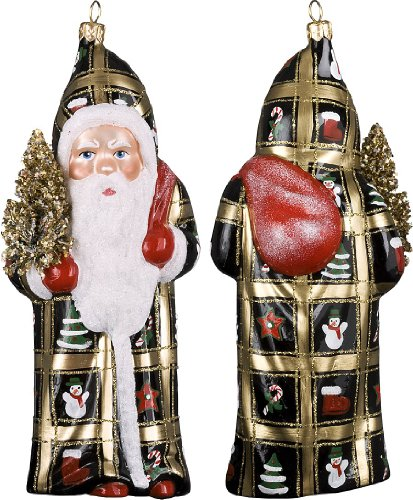 Ino Schaller Blown Glass Polish Peppermint Santa Ornament by Joy to the World Collectibles