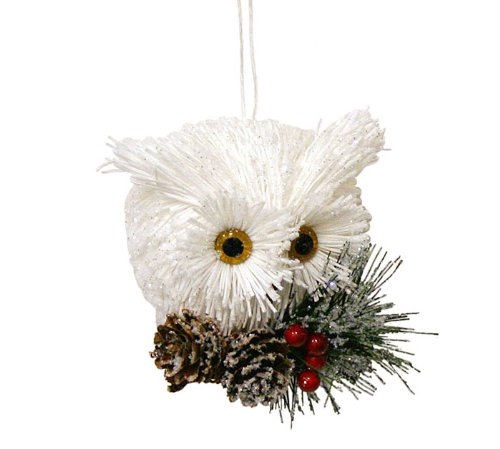 White Owl on Snow Covered Branches Christmas Ornaments – Holiday Ornament Gift Decor
