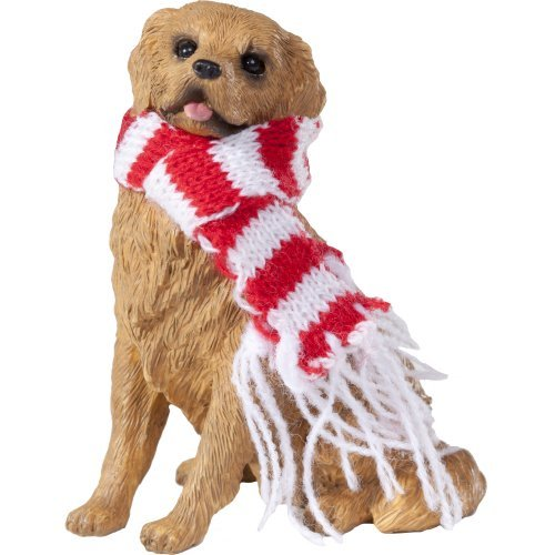 Sandicast Golden Retriever with Red & White Scarf