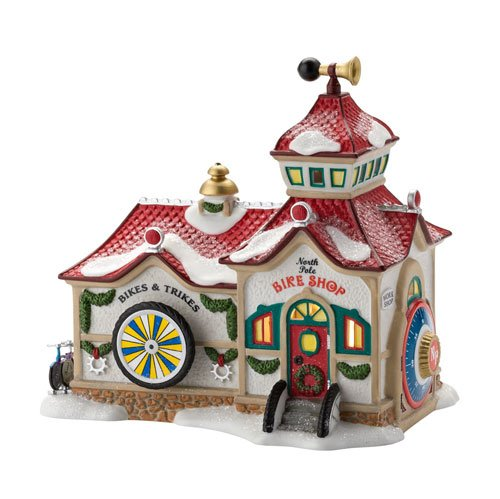 Department 56 North Pole Series Village North Pole Bike Shop Lit House, 6.38-Inch