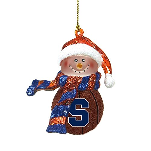 Syracuse Basketball Striped Scarf Snowman Christmas Ornament
