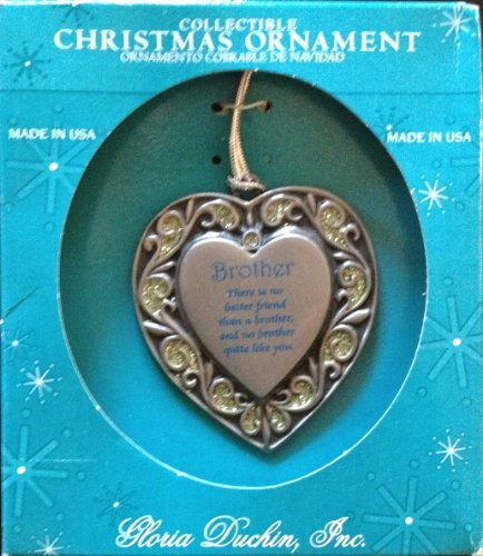 Gloria Duchin Pewter Remembrance Heart Ornament Brother