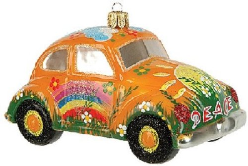 Yellow Hippie Car VW Bug Polish Glass Christmas Ornament