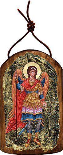 Saint Michael the Archangel 4.75″h Icon Ornament Handcrafted in Wood, Religious Gift, Inspirational Decor.