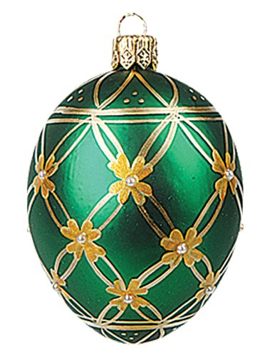 Faberge Inspired Mini Green Flower Egg Polish Mouth Blown Glass Christmas or Easter Ornament