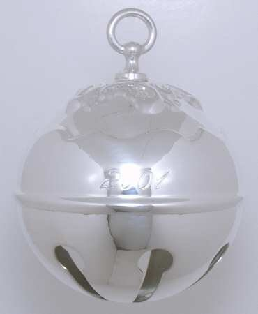 Reed and Barton Annual Silver Plated Holly Bell Ornament 2001
