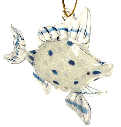 Glass Tropical Fish Christmas Ornament, Blue, Glows in the Dark, 3.75 Inches