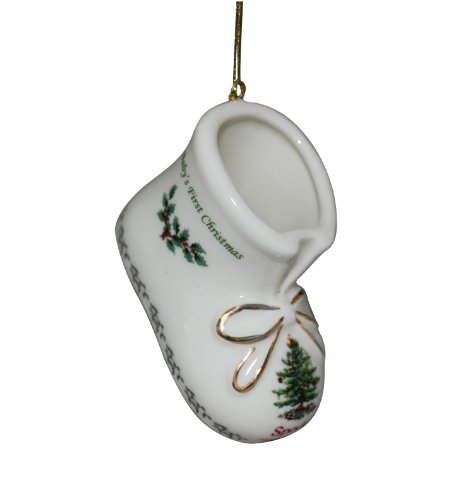 Spode Christmas Tree Baby's First Christmas Bootie Ornament 2013