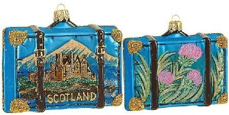 Scotland Travel Suitcase Polish Glass Christmas Ornament