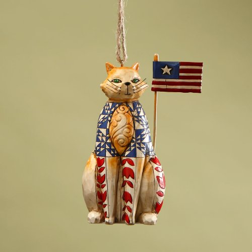 Jim Shore Heartwood Creek Patriotic Cat with American Flag Hanging Ornament, 3-3/4 Inches