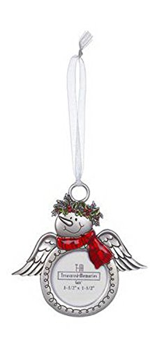 Snowmen Angel With Striped Scarf Photo Ornament by Ganz