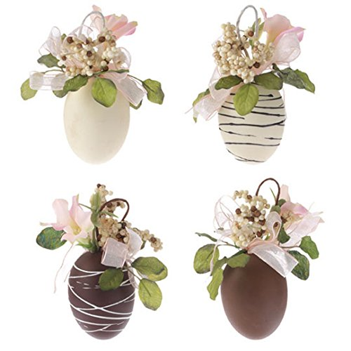 Chocolate Easter Egg Ornaments With Floral Decorations Set of 4