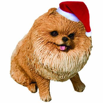Sandicast Orange Pomeranian with Stocking Christmas Ornament