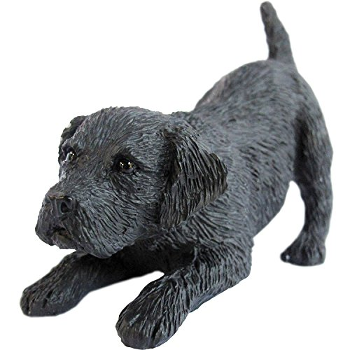 Sandicast Sculpture, Small, Crouching Black Labrador Retriever