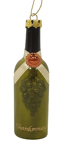 Chardonnay White Wine Glass Bottle With Grapes Christmas Ornament