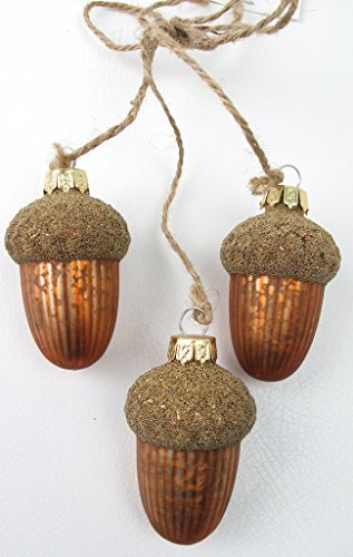Set of 3 Glass Acorn Ornaments Sage & Co.
