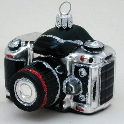 Camera with London England Scene Polish Blown Glass Christmas Ornament