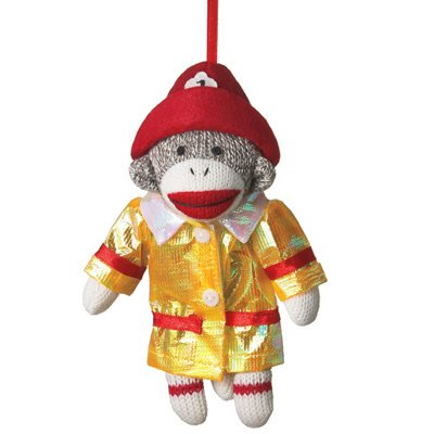 Sock Monkey Fireman Ornament