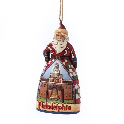 Enesco Jim Shore Heartwood Creek Philadelphia Santa Ornament, 4.5-Inch