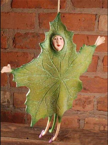 10″ Patience Brewster Krinkles Green Falling Leaf Christmas Ornament
