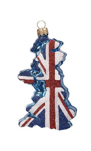 UK Flag Blown Glass Christmas Ornament