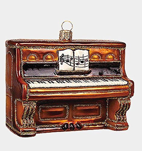 Brown Piano Musical Instrument Polish Mouth Blown Glass Christmas Ornament